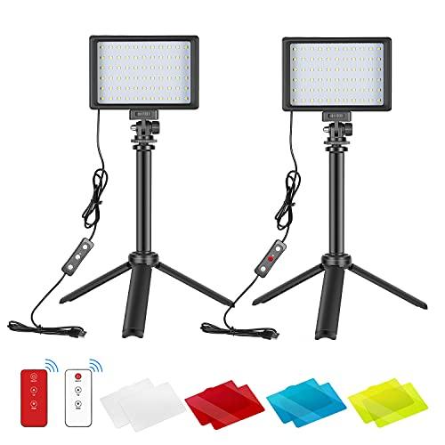 Neewer 2pz Luce LED USB Dimmerabile 5600K per Video con 433MHz Telecomando, Treppiede & Filtri Colorati per Riprese da Tavolo/Basso, Illuminazione per Zoom/Videoconferenze, Giochi, YouTube Video ecc.ù