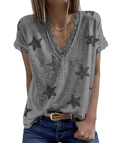 SLYZ Camiseta Femenina De Encaje con Estampado De Estrellas De Cinco Puntas Y Cuello En V De Talla Grande para Mujer De Verano
