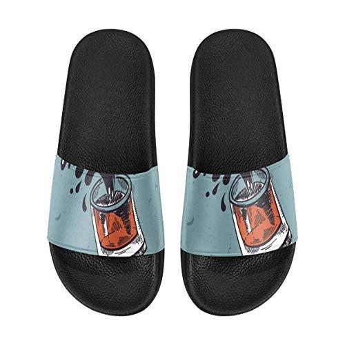 INTERESTPRINT Women's Lightweight Shower Pool Slippers Walking Sandals Beach Shoes 12 B(M) US Lettering Best Dad