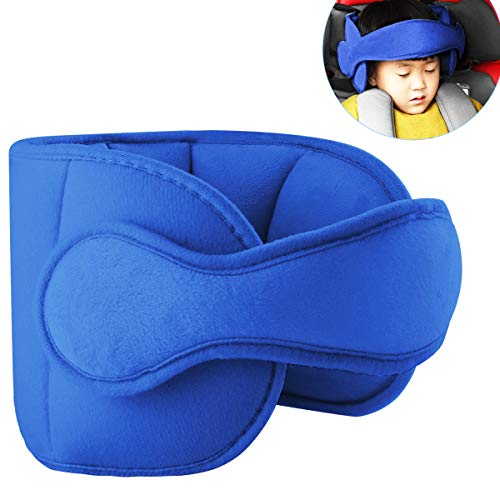 Toddler Car Seat Head Support Child Safety Car Seat Neck Relief Holder Baby Sleep Aid Strap Kids Gift (Blue)
