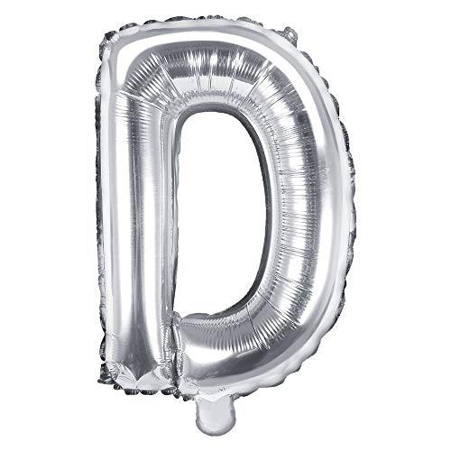 DekoHaus Folienballons Buchstaben / Zahlen Höhe 35 cm Farben: Gold oder Silber (D, Silber)