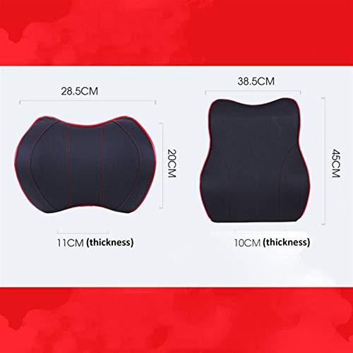 XCYY PU Leather Car Neck Pillow Memory Foam Car Seat Cushion Head Car Seat Pillow (Color : Black)