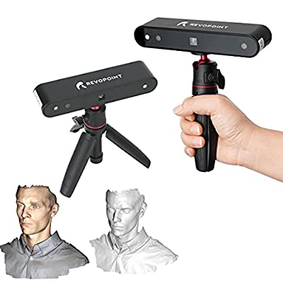 Revopoint POP 3D Scanner 0.3mm Accuracy 8 Fps Scan Speed Desktop and Handheld Fixed/Auto Scan Mode for Face and Body Scanning Modes for Color 3D Printing