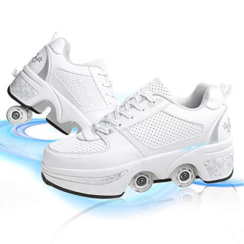 HealHeaters Deformadas Multifuncionales Patines con 4 Ruedas para Niños Patines En Línea Roller Seguridad Confort Zapatos Deportivos para Mujer Aire Libre,White+Silver,42