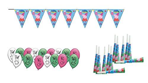 Peppa Pig 0473, Pack Decoración Fiesta y cumpleaños, 16 Globos, 12 trompetas, 1 banderin 3 Metros lineales