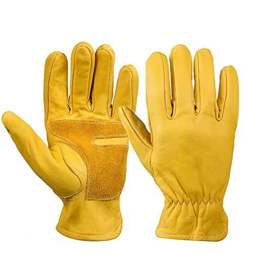Grisen-LEATHER handschoenen veiligheidsbeschermende leren handschoenen, professionele veiligheidsmaterialen, werkhandschoenen, Ridding handschoenen, Herbruikbare handschoenen, Tuinhandschoenen L Geel