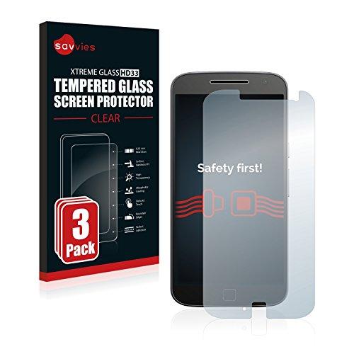 savvies Protector Cristal Templado Compatible con Lenovo Moto G4 Plus (3 Unidades) Protector Pantalla Vidrio, Protección 9H, Pelicula Anti-Huellas