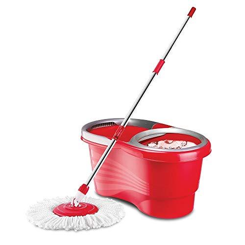 Liseré Vert Balai Easy Clean MOP à essorage Rotatif - Rouge