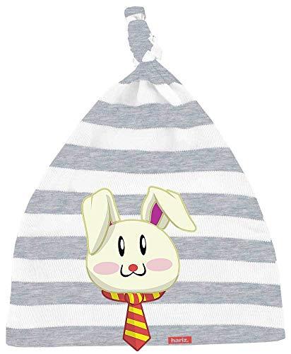 HARIZ Baby Mütze Knoten Streifen Osterhase Sonnenbrille Tiere Kindergarten Inkl. Geschenk Karte Bleistift Grau/Weiß