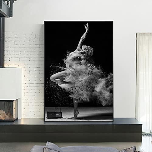 Quadri decorativi ARTE Ballerina Immagini Poster E Stampe In Bianco E Nero Ragazza Donna Tela Pittura Wall Art For Living Room Decor 60x80cm(24x31in)