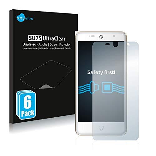 Savvies 6X Schutzfolie kompatibel mit Wileyfox Swift 2 Plus Bildschirmschutz-Folie Ultra-transparent