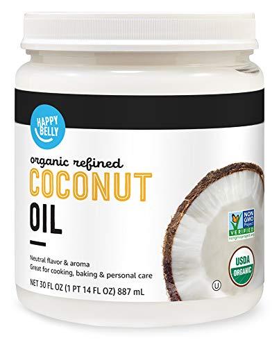 Amazon Brand - Happy Belly Organic Refined Coconut Oil, 30 Fl Oz