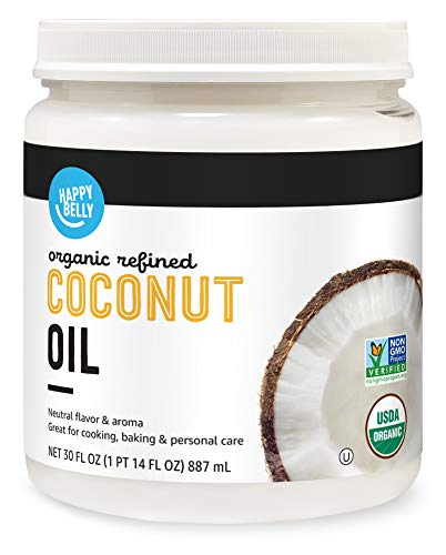 Amazon Brand - Happy Belly Organic Refined Coconut Oil, 30 Fl Oz