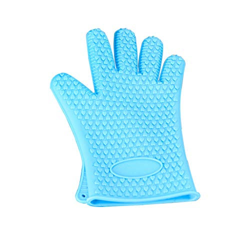 Oven Gloves, Silicone BBQ Grill Gloves Kitchen Baking Best Versatile Heat Resistant Grill Gloves, Insulated Silicone Oven Mitts for Grilling, Full Finger Waterproof,Blue,One