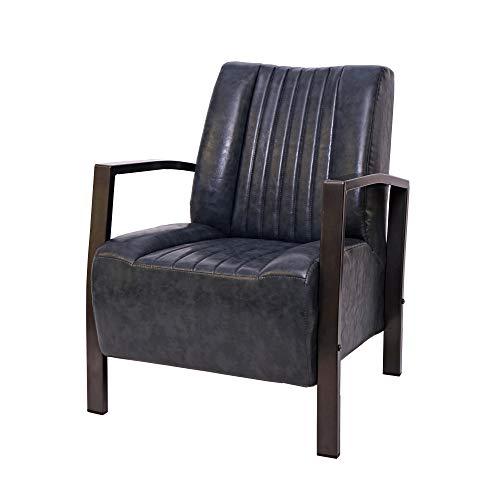 Mendler Sessel HWC-H10, Loungesessel Polstersessel Relaxsessel, Metall Industriedesign - Vintage grau