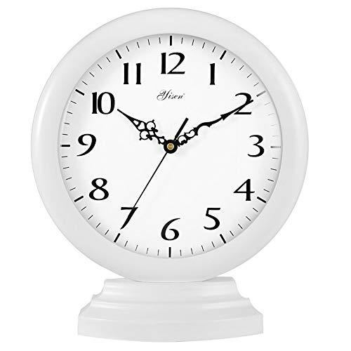 ZLDMYC Exquisito Reloj de Mesa Decorativo, Reloj de Escritorio de Manto Retro, operado por baterías, Manta y Relojes de Mesa para Sala de Estar Cocina de Noche Creativo (Color : White)