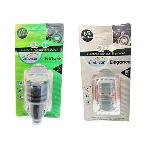 AMBICAR - Ambientador eléctrico para COCHE. Pack Nº4 (DIFUSOR + RECAMBIOS Nature y Elegance) Esencias Naturales, SIN Alcohol ni Químicos. Fragancia fresca y aroma jazmín