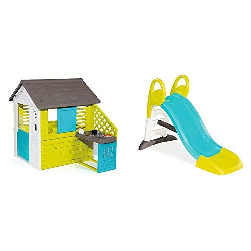 Smoby – Pretty Haus - Spielhaus für Kinder für drinnen und draußen, mit Küche und Küchenspielzeug & KS Rutsche – kompakte Kinderrutsche mit Wasseranschluss, 1,5 Meter lang, mit Rutschauslauf