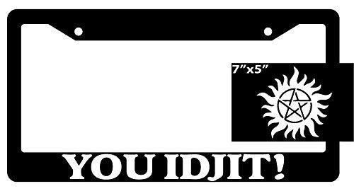 ClustersNN Supernatural You Idjit! Black Metal License Plate Frame with Vinyl White