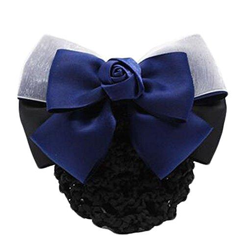 2 pcs dames Bowtie élastique Bun couvre les cheveux Mesh Barrette cheveux Snood, A