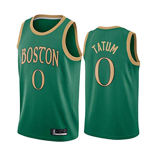 LITBIT Herren-Basketball-NBA-Trikot Boston Celtics 0# Tatum atmungsaktiv schnell trocknend Weste Top für Sport,Grün,M