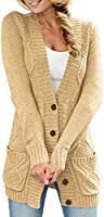 Reukree Womens Open Front Cable Knit Cardigan Button Down V Neck Knitwear Loose Chunky Outwear