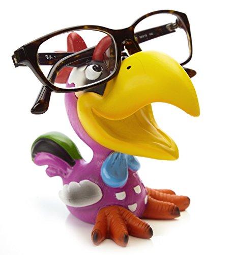 By-Bers Brillenhalter Die_Vögel Design, handbemalt, echt lustig, aus Polyresin, für Kinder und Erwachsene (HahnLila)
