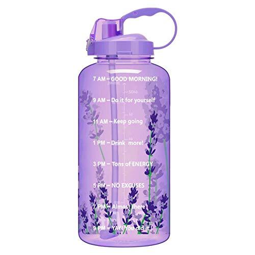 QuiFit 2L 3.8L Gallon Tritan Sports Waterfles met rietje Big Protein Shaker Drinkflessen Kalebaskan BPA Gratis Outdoor GYM nieuw, Lavendelfles, 3.8L 128oz 1 Gallon