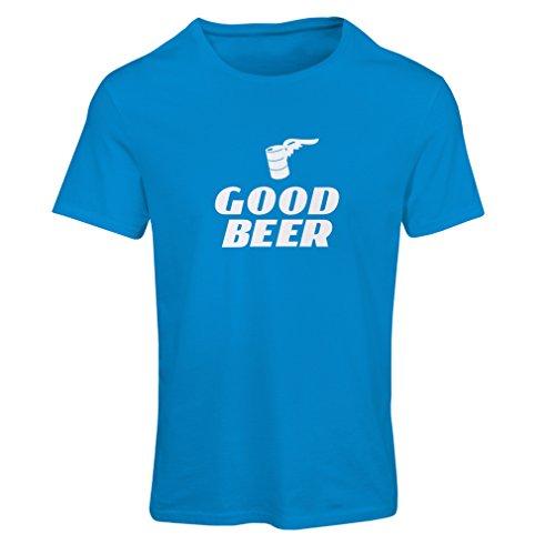 lepni.me Frauen T-Shirt Ich Brauche EIN gutes Bier, Geschenk für Bierliebhaber Partykleidung (Medium Blau Weiß)