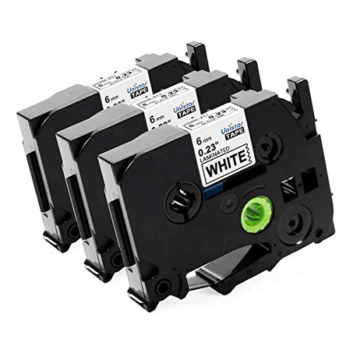 Unistar Compatible Label Tape Replacement for Brother P-Touch TZ Tape 6mm, TZE211 Tze-211 TZ211 Laminated Tape for Label Maker PT-D210, PT-D200, PT-D600, Black on White, 1/4 Inch x 26.2 Feet, 3-Pack