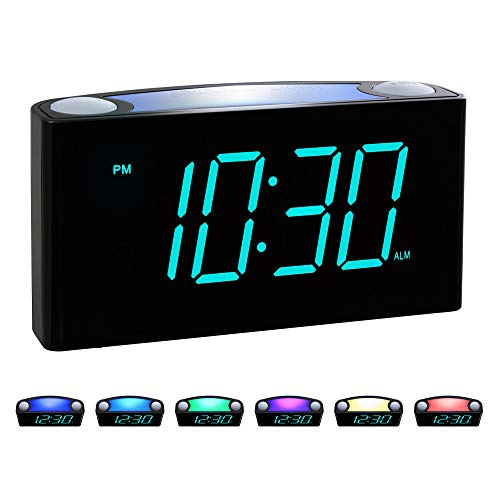 Rocam Digital Alarm Clock for Bedrooms - Large 6.5' LED Display with Dimmer, Snooze, 7 Color Night Light, Easy to Set, USB Chargers, Battery Backup, 12/24 Hour for Kids, Boys, Heavy Sleepers(Blue)