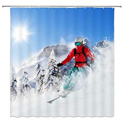 Fmiljiaty Artwork Print Resort Schneeszene Extremsport Ski Duschvorhänge Home Badezimmer Dekor Polyester Stoff Vorhang -180 * 180CM