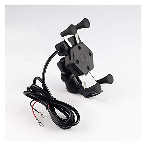 linger Tenedor de teléfono móvil montado en Bicicleta de Motocicleta Universal con Cargador USB (Color : Black)
