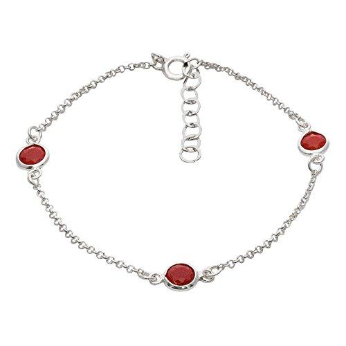 Córdoba Jewels | Pulsera en Plata de Ley 925 con Piedra semipreciosa con diseño Trio Dolce Rubí Silver