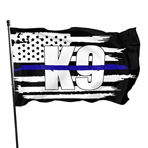 EROOU8W Police K9 Thin Blue Line 3x5 Foot Flag Outdoor Flag 3 x 5 FT with Blue Lives Matter Flag Honoring Law Enforcement Officers