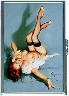 Redhead Pin Up Girl Telephone Stainless Steel ID or Cigarettes Case (King Size or 100mm)