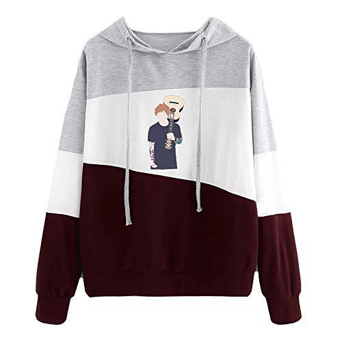 Dooljhjyr Ed Sheeran Pullover Damen lösen Pullover Printed Drawstring Hoodie Trendy Patchwork Tops Ed Sheeran Kapuzenpullover (Color : Red19, Size : S)