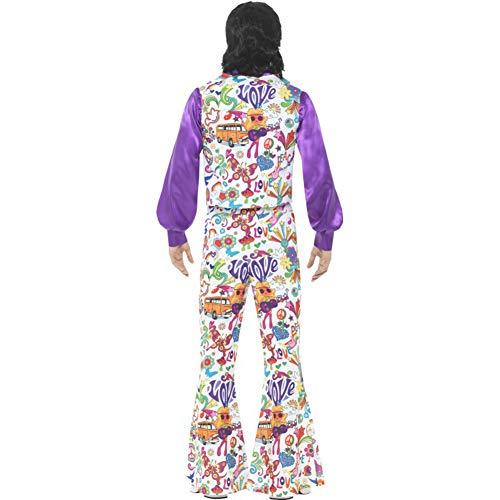 Smiffys Herren 60er Jahre Groovy Hippie Kostüm, Weste, Hemd und Schlaghose, Größe: M, 44904