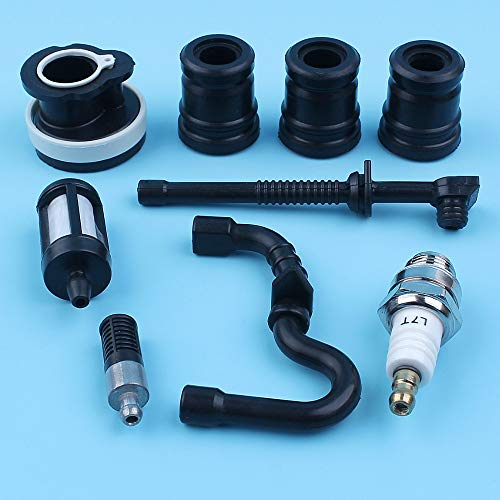 Haoyueda La ingesta AV Buffer Filtro colector de aceite combustible manguera de la línea Kit Compatible con Stihl 018 MS180 MS170 017 MS 180 170 motosierra Vela Bujía