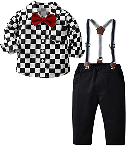 Boy's Clothes, Long Sleeves Button-Down Plaid Shirt with Bowtie + Suspender Pants Set Cute Handsome Outfits, Black, 3-9 Months = Tag 60
