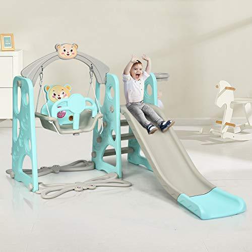 DREAMADE 3 in 1 Kinder Spielplatz, Kinderschaukel & Kinderrutsche Set mit Basketballkorb, Spielturm mit Rutsche und Schaukel für Indoor und Outdoor, Für Kinder 1 bis 5 Jahren (Grün) - 5