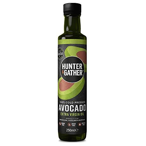 Hunter & Gather Aceite de Aguacate Extra Virgen 250ml | Prensado en Frio, Sin Refinar, Embotellado en Reino Unido | Versátil para Rociar, Freír y Sumergir | Libre de Azúcar, Gluten y Lácteos