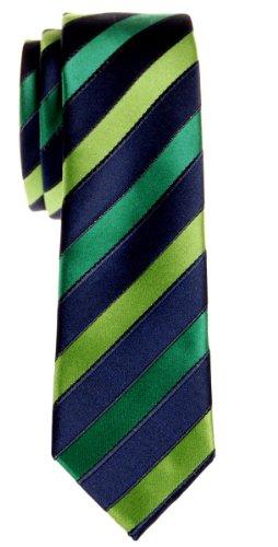 Retreez Corbata de microfibra fina a rayas tricolor para hombres Azul marino y verde