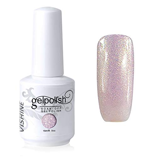 Vishine Vernis à ongles Semi-permanent GelPolish Soak-off UV LED Manucure Vernis Gels Pearl Lavenderblush(228)