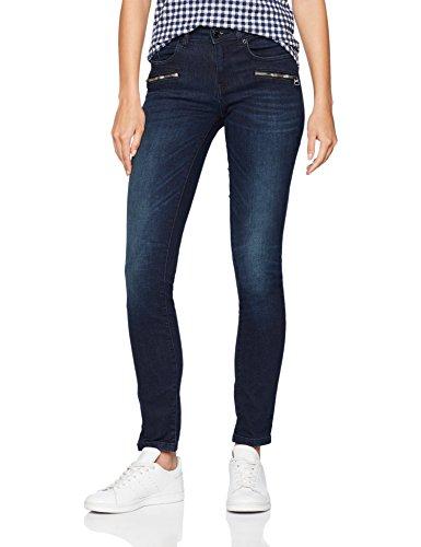 TOM TAILOR Damen Alexa Slimfit mit Zipdetails Slim Jeans, Blau (Rinsed Blue Denim 1100), W26/L32 (Herstellergröße: 26)