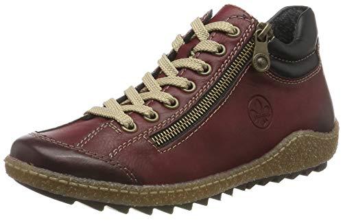 Rieker Damen L7516 Hohe Sneaker, Rot (Wine/Schwarz 37), 42 EU