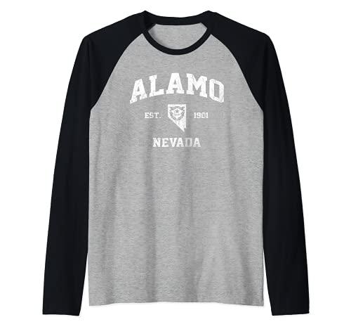 Alamo Nevada NV vintage State Athletic style Raglan Baseball Tee