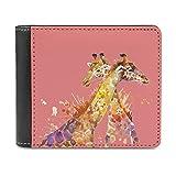 Cartoon jirafas amor piel monederos para hombre mujer billetera de piel monedero bloqueo minimalista cartera regalo para hombres y niñas, blanco, talla única,