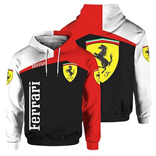Sudadera con Capucha para Hombre De Manga Larga con Estampado Digital del Logotipo De Ferrari (1,M)