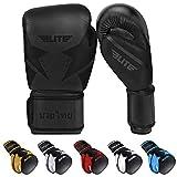 Elite Sports 2021 Muay Thai Gloves, Men's, Women's Best Kickboxing Pair of Breathable Gloves (Black, 12 oz)